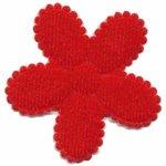Applicatie bloem rood met witte stippen satijn groot met schulprandje 45 mm (ca. 100 stuks)