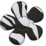 Applicatie bloem met zebra print wit/zwart groot 45 mm (ca. 25 stuks)