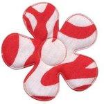 Applicatie bloem met zebra print wit/rood groot 45 mm (ca. 25 stuks)