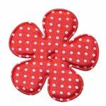 Applicatie bloem rood met witte stippen satijn EXTRA GROOT 65 mm (ca. 100 stuks)