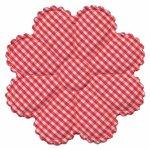 Applicatie geruite bloem rood-wit EXTRA GROOT 75 mm (ca. 100 stuks)
