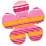 Applicatie bloem gestreept roze groot 45 mm (ca. 25 stuks)