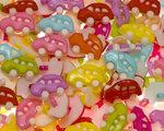 Kinderknoopje kleine auto MIX kleuren ca. 17x12 mm (ca. 200 stuks)