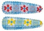 Haarkniphoesje grote ruit licht blauw met rode en gele bloemen 5 cm (ca. 100 stuks)