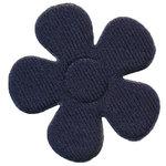 Applicatie bloem donker blauw satijn effen groot 45 mm (25 stuks)