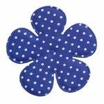 Applicatie bloem kobalt blauw met witte stippen satijn EXTRA GROOT 65 mm (ca. 100 stuks)