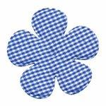 Applicatie geruite bloem kobalt blauw-wit EXTRA GROOT 65 mm (ca. 25 stuks)