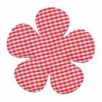Applicatie geruite bloem rood-wit EXTRA GROOT 65 mm (ca. 100 stuks)