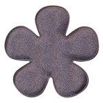 Applicatie bloem antraciet satijn effen groot 47 mm (ca. 100 stuks)
