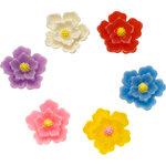 Flatback bloemetje met geel hart MIX kleuren middel 20 mm (100 stuks)