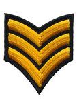 Opstrijkbare applicatie leger/army zwart met 3 geel/gouden strepen (5 stuks)