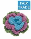 Gehaakte katoenen bloem groen, roze en blauw ca. 60 mm (5 stuks)