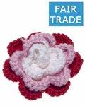 Gehaakte katoenen bloem rood, roze en wit ca. 60 mm (5 stuks)
