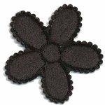 Applicatie bloem zwart fluweel groot 45 mm (ca. 100 stuks)