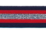 Elastiek gestreept donker blauw-rood met zilver lurex 30 mm (ca. 15 m)
