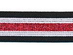 Elastiek gestreept zwart-wit met rood lurex 30 mm (ca. 15 m)