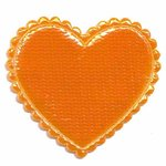 Applicatie glim hart oranje groot 45 x 45 mm (ca. 100 stuks)