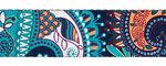 Tassen-/gitaarband 2-zijdig bedrukt 50 mm - paisley blauw (5 m)