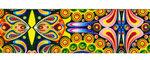 Tassen-/gitaarband 2-zijdig bedrukt 50 mm - kaleidoscope geel (5 m)