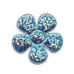 Applicatie glitter bloem licht blauw middel 35 mm (ca. 100 stuks)