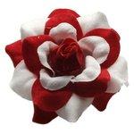 Roos rood-wit stof ca. 4,5 cm (10 stuks)