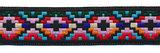 Sierband Inca stijl zwart-roze-rood-blauw 25 mm (ca. 22 m) - overzicht