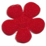 Applicatie bloem rood met witte stippen satijn groot 45 mm (ca. 100 stuks)_