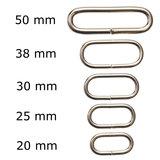 Metalen passant met ronde hoeken zilverkleurig ZWAAR 25 mm (ca. 25 stuks)_