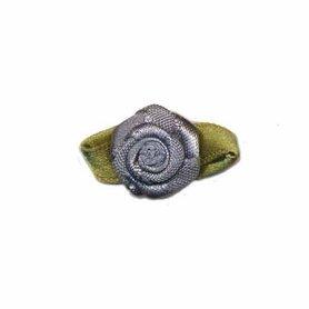 Roosje satijn antraciet grijs op blad 15 x 25 mm (ca. 25 stuks)