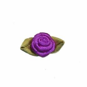 Roosje satijn paars op blad 15 x 25 mm (ca. 25 stuks)