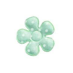 Applicatie bloem mintgroen met witte stippen satijn klein 27 mm (ca. 100 stuks)