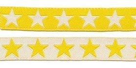 Geel sierband met witte sterren 2-zijdig 12 mm (ca. 22 m)