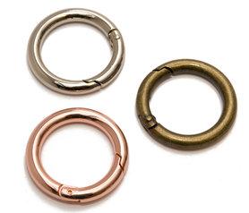 Metalen O-ring met musketonsluiting Rose Goud 25 mm (10 stuks)