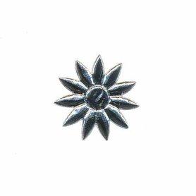 Applicatie glim bloem puntig zilver klein 20 mm (ca. 100 stuks)