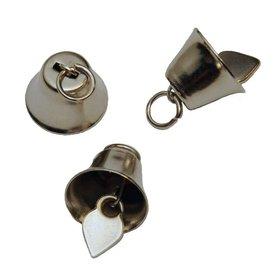 Klokvormige belletjes zilverkleurig 16 mm (ca. 25 stuks)