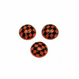 Flatback bolletje met ruitje oranje-zwart 15 x 6 mm (10 stuks)
