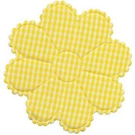 Applicatie geruite bloem geel-wit EXTRA GROOT 75 mm (ca. 100 stuks)