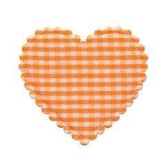 Applicatie geruit hart oranje-wit groot 40 x 40 mm (ca. 100 stuks)