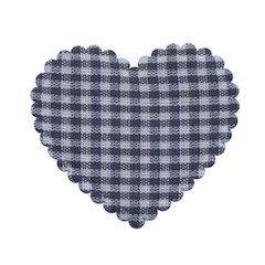 Applicatie geruit hart donker blauw-wit groot 40 x 40 mm (ca. 100 stuks)