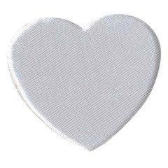 Applicatie hart wit satijn effen groot 45 x 40 mm (ca. 100 stuks)