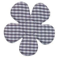 Applicatie ruitjes bloem grijs groot 45 mm (ca. 100 stuks)