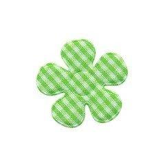 Applicatie geruite bloem groen-wit klein 27 mm (ca. 100 stuks)