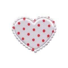 Applicatie hart wit met rode stippen satijn middel 35 x 30 mm (ca. 100 stuks)