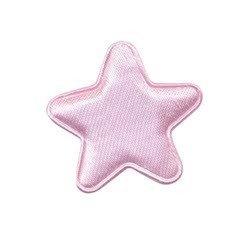 Applicatie ster roze satijn effen middel 30 mm (ca. 100 stuks)