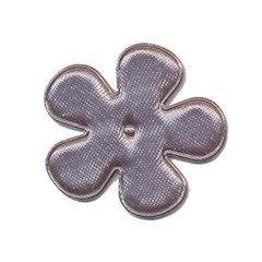 Applicatie bloem grijs satijn effen middel 35 mm (ca. 100 stuks)