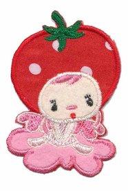 Applicatie aardbeienmeisje op roze wolkje klein (5 stuks)