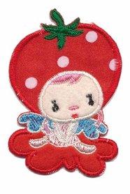 Applicatie aardbeienmeisje op rood wolkje klein (5 stuks)