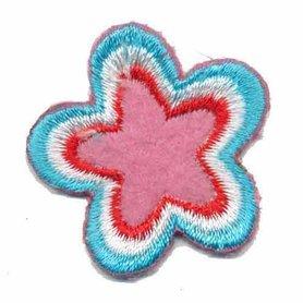 Applicatie ster roze-rood-wit-blauw (5 stuks)