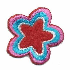 Applicatie ster rood-wit-blauw-roze (5 stuks)