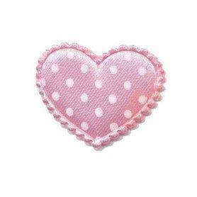 Applicatie hart roze met witte stippen satijn middel 35 x 30 mm (ca. 100 stuks)
